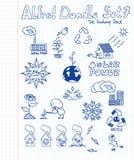 7 Alfred doodle θέτουν Στοκ Εικόνες