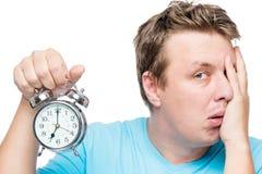 7 Am On The Alarm Clock. A Portrait Of A Sleepy Man Stock Photos