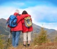7 anziani d'escursione Fotografia Stock