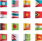 7 asia flaggor part vektorn Arkivfoton