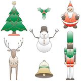 7 christmas dingbats. 7 simple, stylized christmas icons Stock Photo