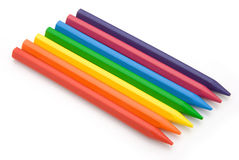 7-color crayon lined up Stock Photos