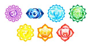 Free 7 Color Of Chakra Symbol Concept, Flower Floral, Watercolor Painting Stock Image - 132312991