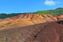 7-coloured earth of Chamarel. On Mauritius island stock images