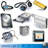 7 datorsymboler Arkivfoto