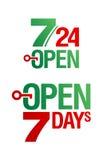 7 Days Open. Vector set vector illustration
