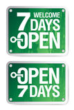 7 Days Open signs. Set Stock Photo