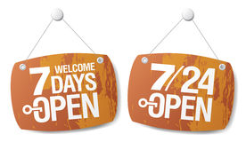 7 Days Open signs. Set vector illustration