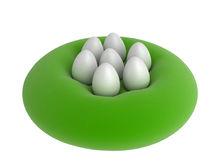 7 Eggs on a cushion. 7 white eggs placed on a round green cushion, horizontal royalty free illustration
