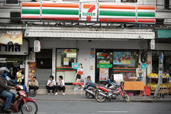 7-Eleven Store in Bangkok. The exterior of a 7-Eleven store on a road the Banglampoo district the Thai capital. There are 6,300 7-Eleven stores in Thailand, the Royalty Free Stock Photos