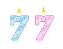 7 födelsedag stearinljus stock illustrationer