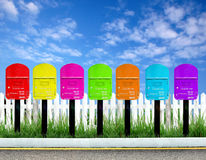 7 Farbe Postbox Lizenzfreie Stockfotos