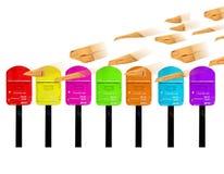 7 Farbe Postbox Lizenzfreies Stockfoto