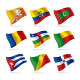 7 flaggor ställde in världen Arkivbilder