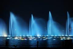 7 fontann noc Zdjęcia Royalty Free
