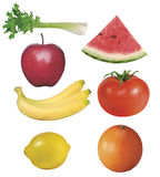 7 fruits and vegetables. 7 vegetables with clipping path stock photo