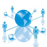 7. Global Computer Network in blue. Rasterized Royalty Free Stock Photo
