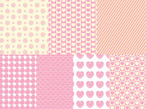 7 Heart and Eyelet Background Swatches. In shades of pink, gold and ecru royalty free illustration