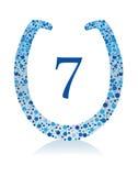 7 horshoe szczęsliwa liczba Zdjęcia Royalty Free
