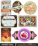 7 inkasowych etykietek ustawiają rocznika Zdjęcie Royalty Free