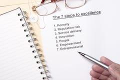 7 Jobstepps zur hervorragenden Leistung Lizenzfreies Stockbild