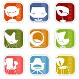 7 mod ikon retro wektora Zdjęcia Stock