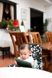 7-Monats-altes asiatisches Babylesemittagessenmenü Stockfoto