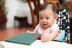 7 month old Asian baby girl, holding the menu Stock Images