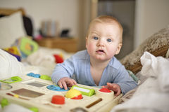7 month old baby boy playing. Very happy 7 month old baby boy starting to think about crawling, with 1st teeth, wearing washable eco' nappies, in a wooded stock photo