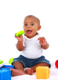 7-month old baby playing with toys Royalty Free Stock Photos