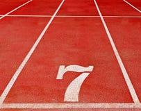 7 numerowy biegowy ślad Fotografia Stock