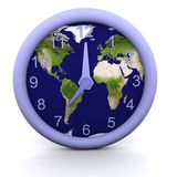 7 oclock. 3d rendered clock showing the time with earth background Royalty Free Stock Photo