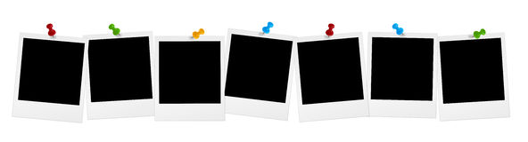 Free 7 Polaroids In Series With Colored Pins Royalty Free Stock Image - 41265046