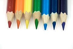 7 Rainbow Pencils. On the White Background Royalty Free Stock Image