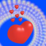 7 red hearts Royalty Free Stock Photos