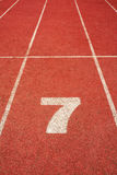 7 on a running track  line Stock Images