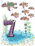 7 sköldpaddor för serie för djurnummerhav Arkivfoto