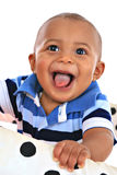7 smilling男婴月大的纵向 库存图片