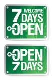7 Tage öffnen Zeichen Stockfoto