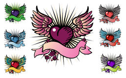 7 tattoo style emblem. Vector love, flower, fly icon Royalty Free Stock Photo