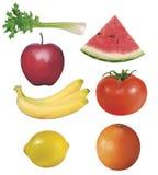 7 vruchten en groenten Stock Foto