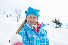 7 Year Old Girl On Winter Vacation Royalty Free Stock Images