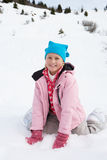 7 Year Old Girl On Winter Vacation Stock Photo