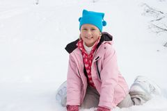7 Year Old Girl On Winter Vacation Stock Photos