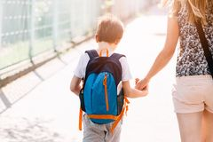 Free 7 Years Old Boy Going To School With His Mother Stock Images - 76134974