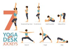 Free 7 Yoga Poses For Workout In Concept Of Desk Jockeys. Woman Exercising For Body Stretching. Yoga Posture Or Asana For Fitness Infog Stock Photo - 187327640