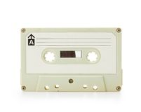 70年代初期在白色查出的盒式磁带 免版税库存图片