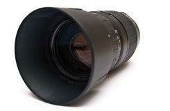 70-300mm Zoom Lens. Zoom lens on a white background Royalty Free Stock Images