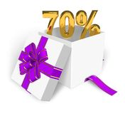 70% discount concept. Shiny golden 70% in the white gift box with violet ribbon Royalty Free Stock Photo