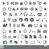 70 icons. Icons for web, audio, Internet stock illustration